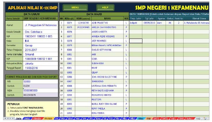 aplikasi nilai raport K13 SMP