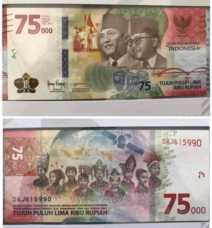 gambar uang baru pecahan 75000