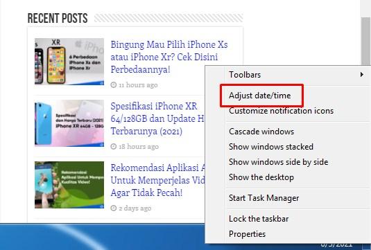 setting manual jam di windows 7