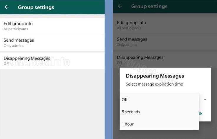 whatsap Disappearing Message di wa group