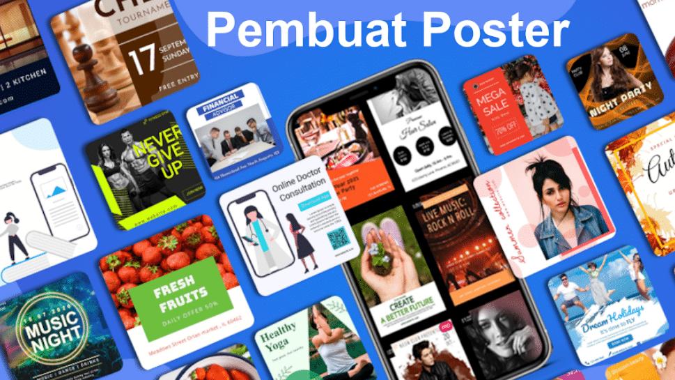 Membuat Poster 2021 Flyer Pembuat brosur Iklan app